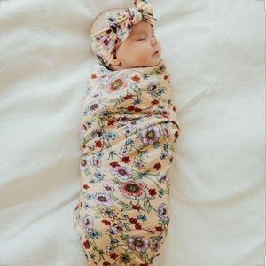 Baby Bling   Apricot Floral Swaddle & Headband Set